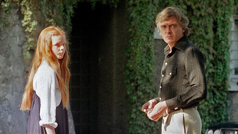 "Nicoletta Elmi e David Hemmings sul set di ""Profondo Rosso""."